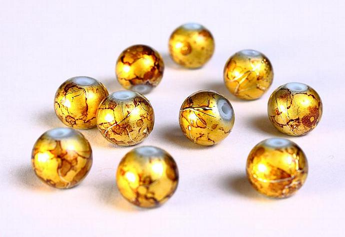 10 Drawbench brown gold yellow beads 8mm round glass bead spray painted 10pcs