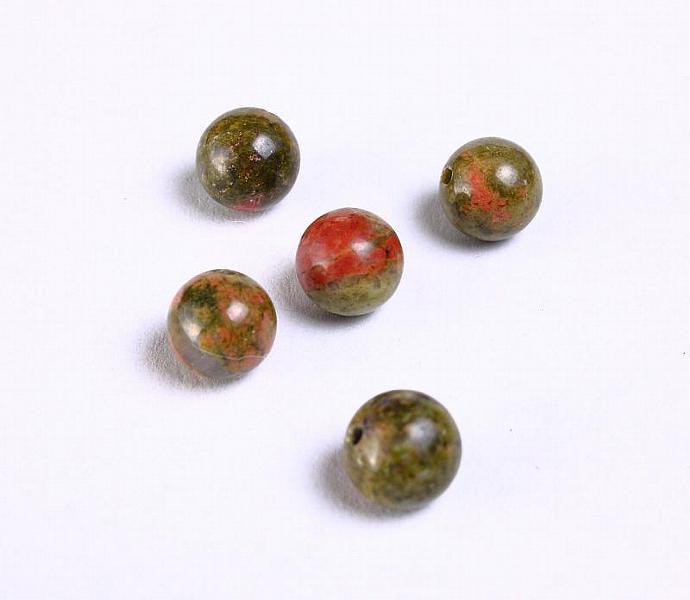 6pcs 8mm Unakite beads round gemstone bead 6 (936)