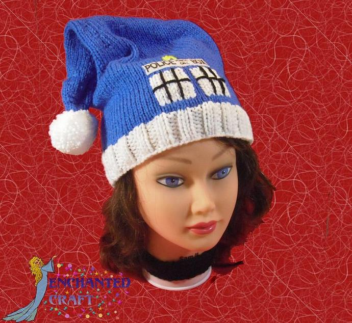knitted doctor Who TaRDIS SANTA hat