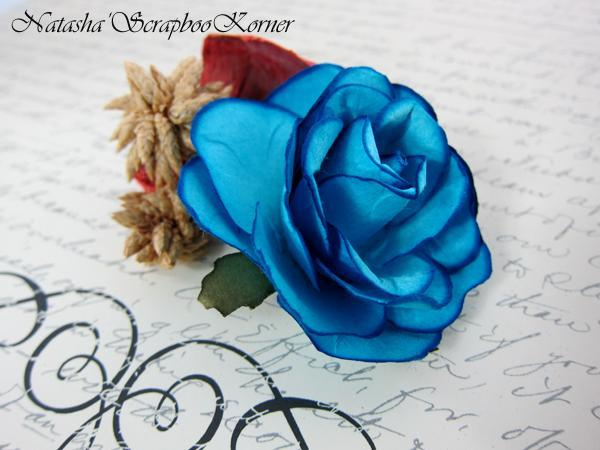 "Large paper Rose Flower - 2"" Turquoise Blue stl"