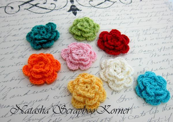 "8pcs Crochet 3 Layer Flowers  - 1.5""  Multi Colors stl"