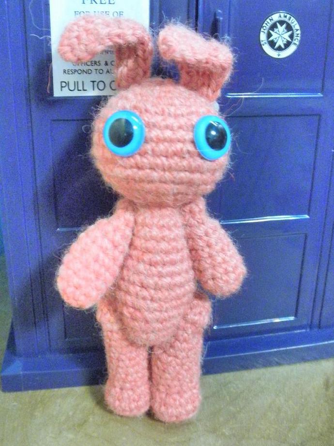 Watermelon pink bunny amigurumi crochet plush