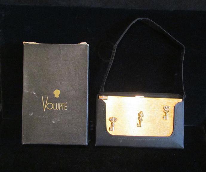 Vintage Volupte Compact Purse 1950s Mad Men Purse Fleur De Lis In Original Box