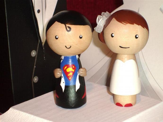 Superman Wedding Cake Topper Kokeshi Ittybittywoodshoppe