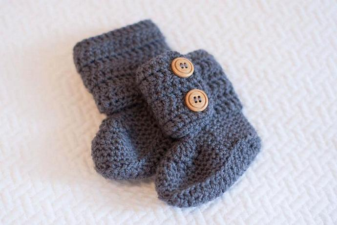 Crochet Baby Booties in Grey, Baby Ankle Booties, Ugg Boots in Grey, Baby Shoes,