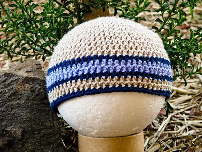 Children's Skater Beanie in Stone, Junior Navy and Periwinkle Blue