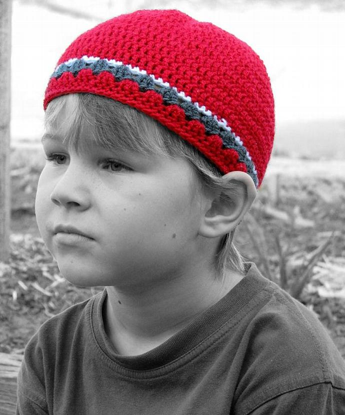 Children's Skater Beanie in Red, Charcoal and White