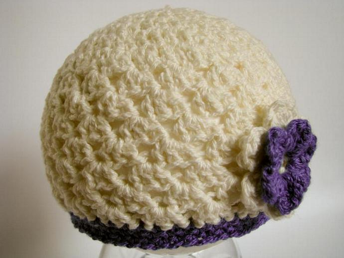 Baby Beanie with Flower in Cream and Lavender