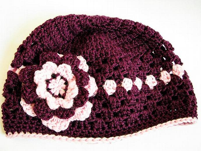 Baby Girl Beanie in Dark Plum and Pink