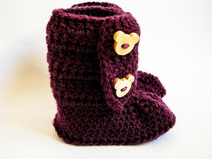 Crochet Baby Ankle Booties, Ugg Boots in Dark Plum