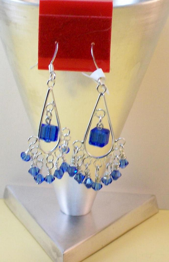 Silver Chandelier Earrings with Swarovski Sapphire Crystals