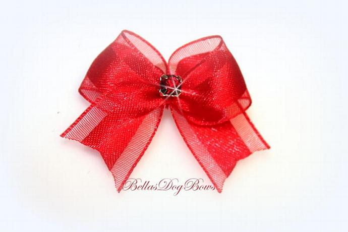 """1/2"""" Red Satin & Organza Casual Bow with Red Swarovski Crystal"""