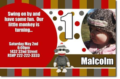 Sock Monkey Birthday Party Invitations (Download JPG Immediately)