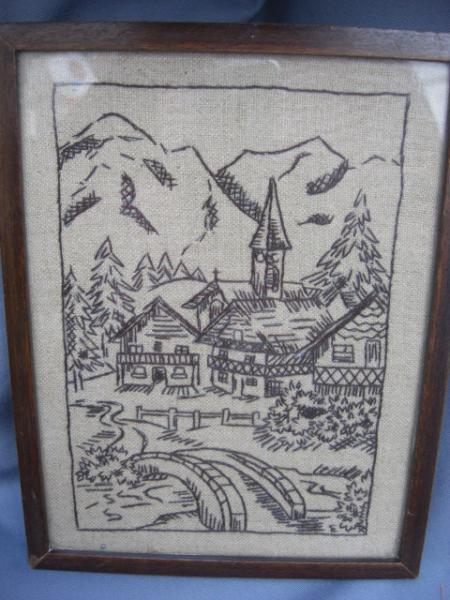 1950s Rustic  Framed Embroidery Scene of Village with Church and Bridge -
