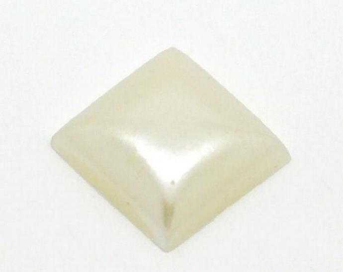 8 Off-white cream square resin cabochon 10mm 8pc (921)