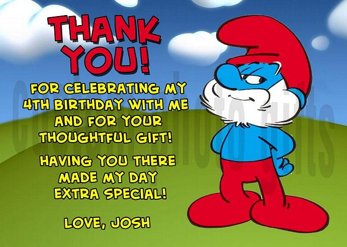 Papa Smurf Personalized Custom Birthday Thank You Card Digital File, You Print