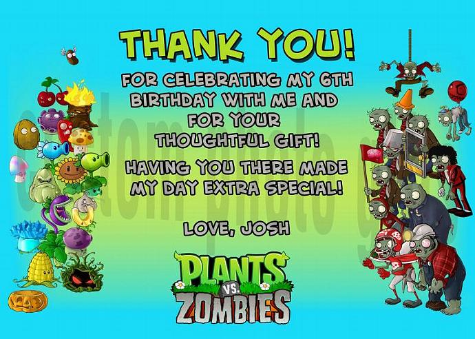 Plants vs Zombies Personalized Custom Birthday Thank You Card Digital File, You