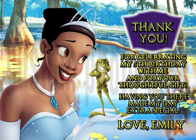 Princess and the Frog Personalized Custom Birthday Thank You Card Digital File,