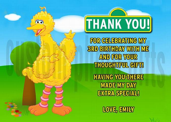 Sesame Street Big Bird Personalized Custom Birthday Thank You Card Digital File