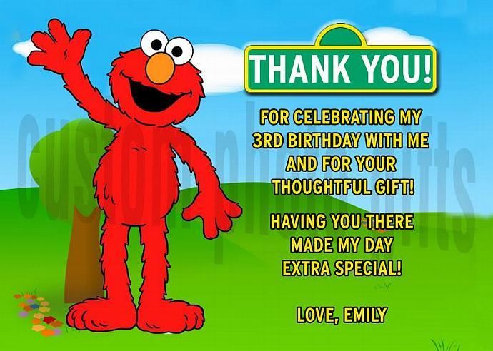 Sesame Street Elmo Personalized Custom Birthday Thank You Card Digital File, You