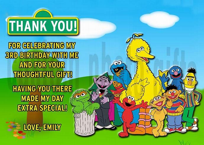 Sesame Street Personalized Custom Birthday Thank You Card Digital File, You