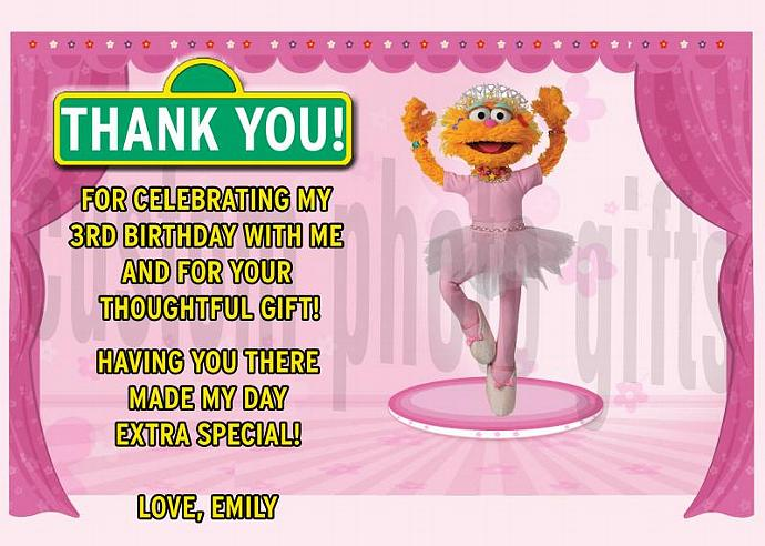 Sesame Street Zoe Personalized Custom Birthday Thank You Card Digital File, You