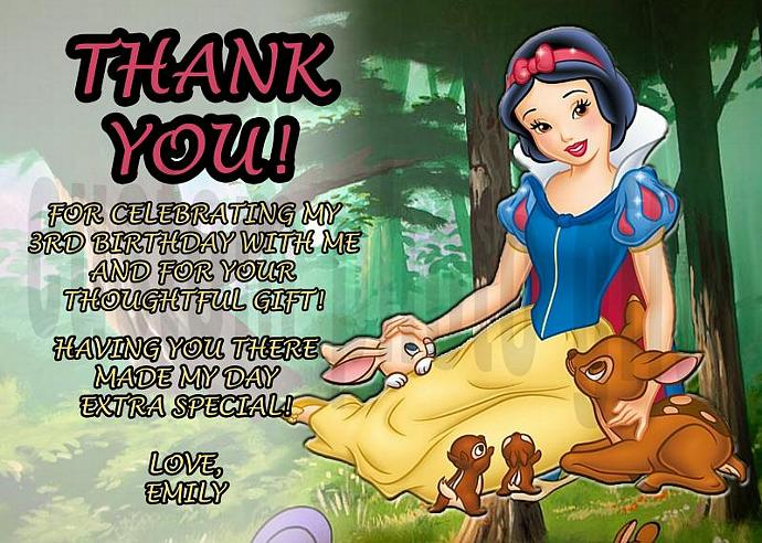 Snow White Personalized Custom Birthday Thank You Card Digital File, You Print
