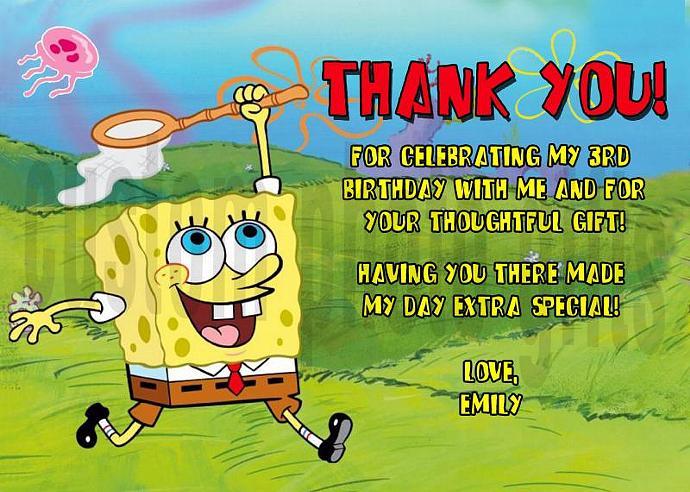 Spongebob Squarepants Personalized Custom Birthday Thank You Card Digital File,