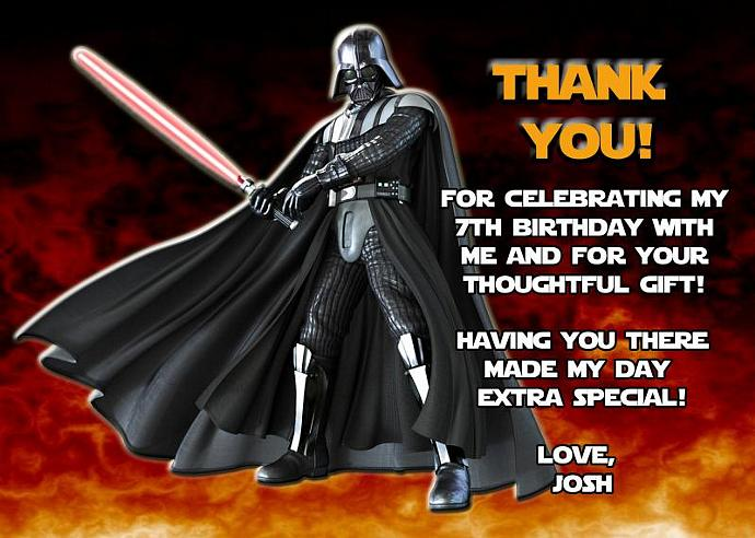 Star Wars Darth Vader Personalized Custom Birthday Thank You Card Digital File,