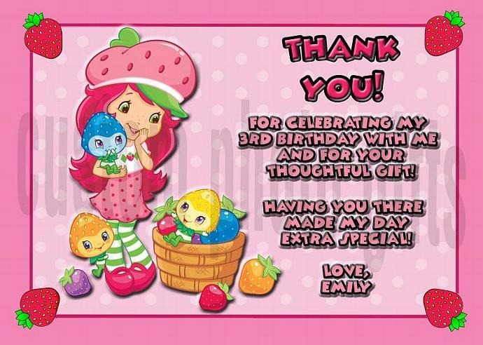 Strawberry Shortcake Personalized Custom Birthday Thank You Card Digital File,