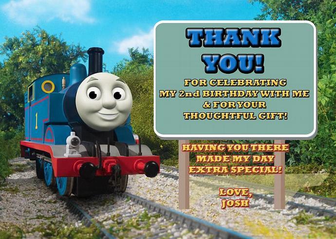 Thomas the Train Personalized Custom Birthday Thank You Card Digital File, You