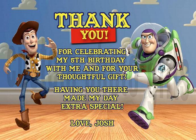 Toy Story Woody and Buzz Lightyear Personalized Custom Birthday Thank You Card