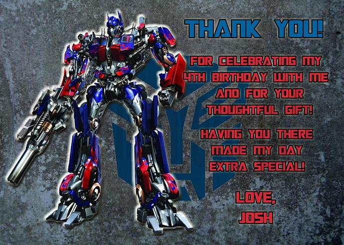 Transformers Optimus Prime Personalized Custom Birthday Thank You Card Digital