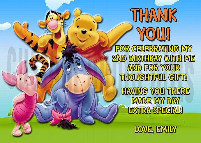 Winnie the Pooh Personalized Custom Birthday Thank You Card Digital File, You