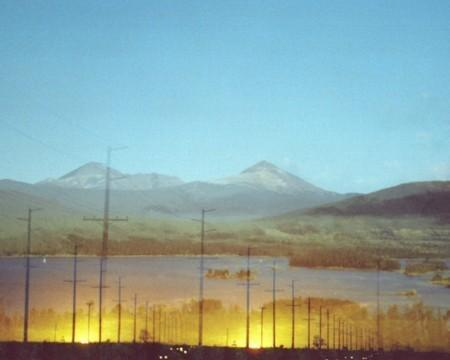 sundown roadside.  8 x 10.  multiple exposure photograph.