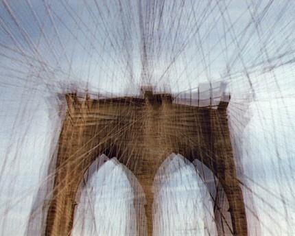 brooklyn bridge (soft focus).  8x10. multiple exposure photograph,