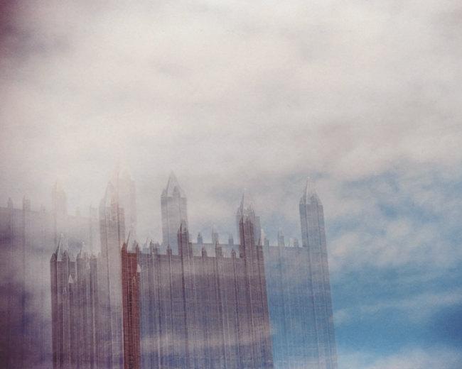 glass sky. 8x10 multiple exposure photograph.