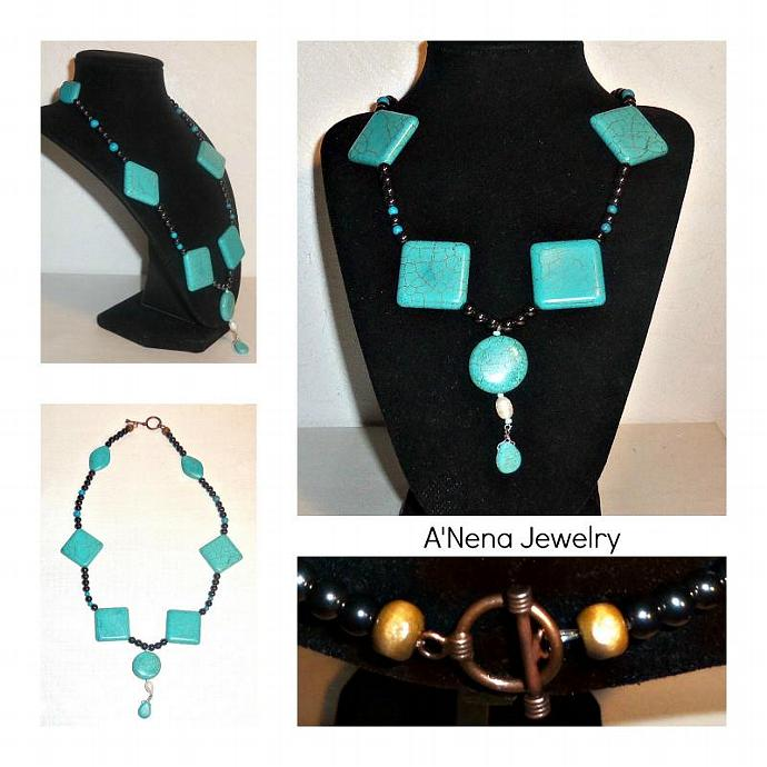 """Necklace Hematite, Howlite, Pearl, Wood and Copper """"Balance"""""""