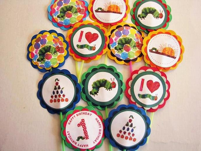 The Very Hungry Caterpillar Cupcake Birthday Cake Toppers A New Set Of 12 For