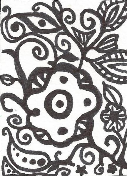 Original abstract ACEO marker fantasy drawing black and white ATC art card