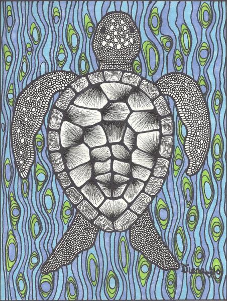 Sea Turtle On Blue