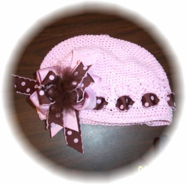 Crocheted Beanie Cap Brown Dot Moonstitch Marabou  FREE SHIPPING