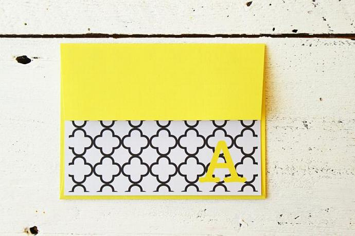 Personalized Stationary Bright Yellow and Black Custom Stationery Black and