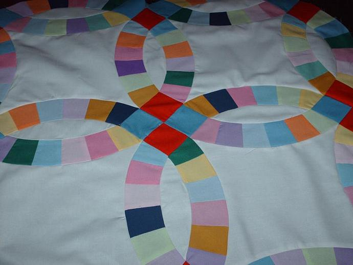 Double wedding ring quilt top  King size