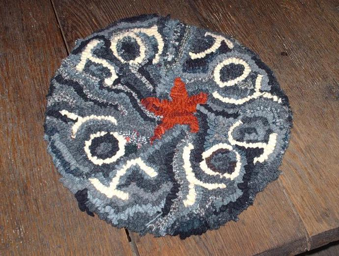 Primitive Joy hooked rug candlemat  chairpad