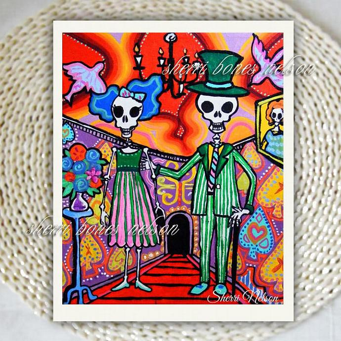 Art Print Halloween Home Decor Day Of The Dead Gothic Skeleton Wedding