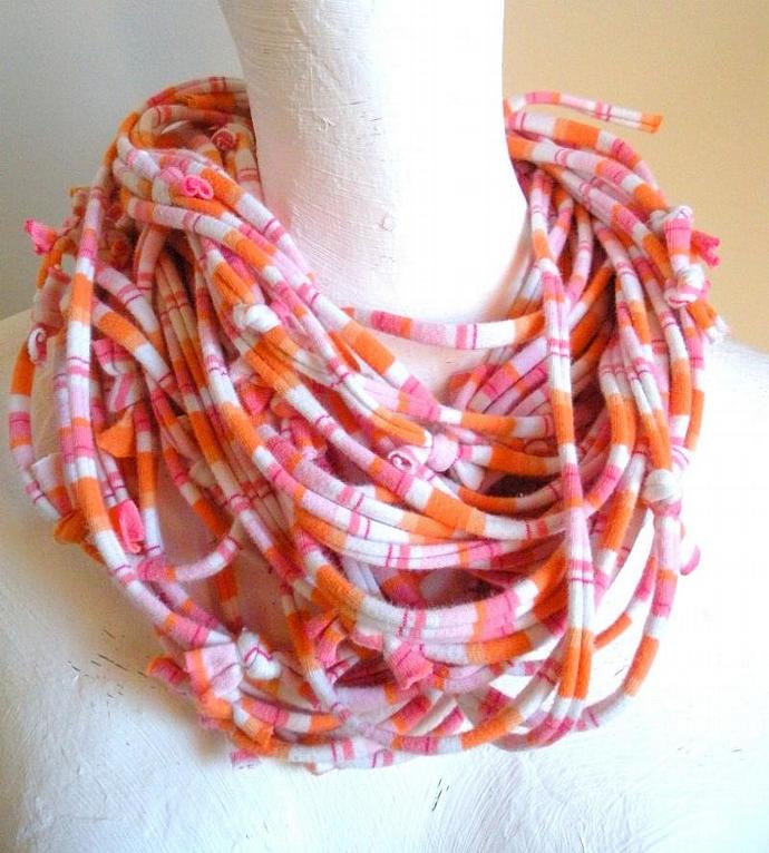 Upcycled Pastel Pink Orange Striped Jersey Scarf Tangerine White Stripes Fall