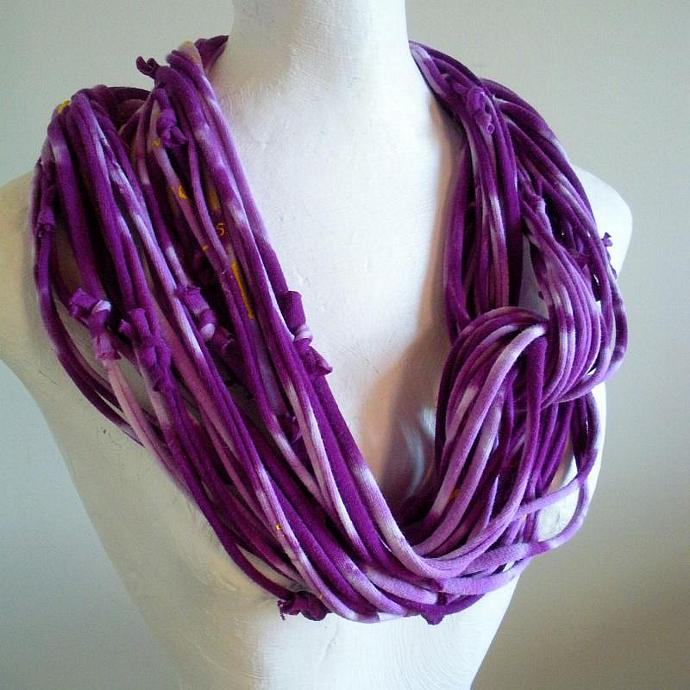 Womens Amethyst Purple Infinity Scarf Repurposed Clothing Cowl Scarf Upcycled