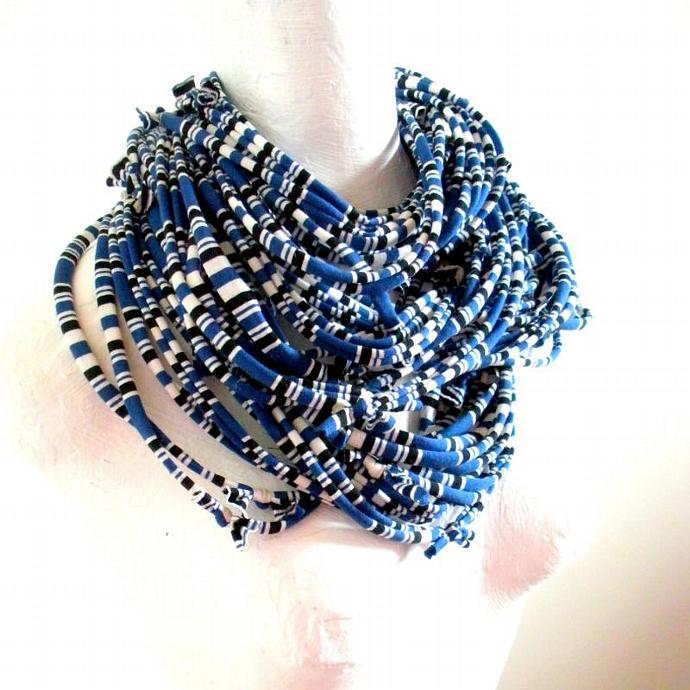 Mykonos Blue Infnity Scarf Pantone Fall Fashion Color Cobalt Electric Blue Black