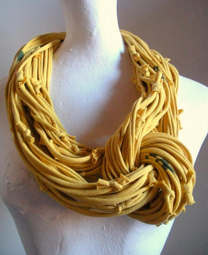 Chunky Honey Gold Cowl Scarf Mustard Infinity Scarf Fall Fashion Upcycled Yellow